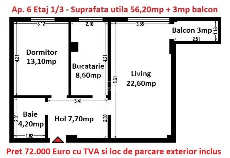 Compozitori-2 camere decomandat 59,20mp etaj 1/3 Comision 0%